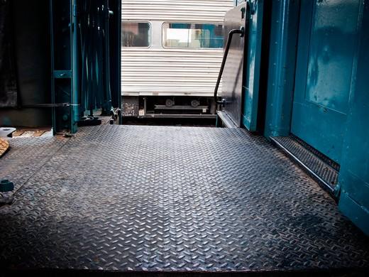 Vestibule in a passenger train : Stock Photo