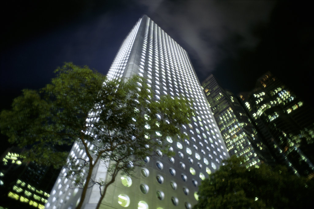 Stock Photo: 1311-210 Low angle view of a high rise building, Jardine House, Hong Kong, China