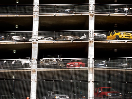 Stock Photo: 1311-2162 Cars parked in a garage