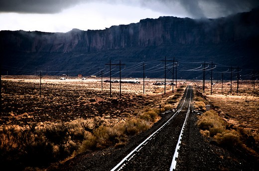 Stock Photo: 1311-2171 Railroad track with a mountain range in the background, Route 66, New Mexico, USA