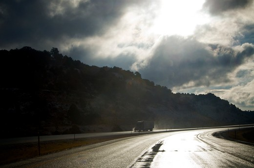 Stock Photo: 1311-2173B Highway after rain, Route 66, New Mexico, USA