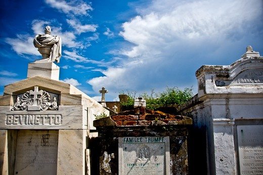Ruins of a cemetery, St. Vincent De Paul Cemetery, New Orleans, Louisiana, USA : Stock Photo