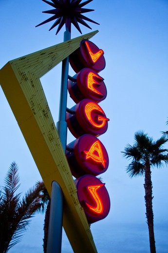 Low angle view of a neon sign, Las Vegas, Nevada, USA : Stock Photo