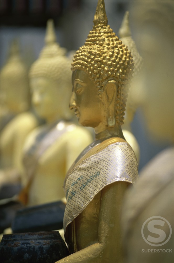 Golden Statues of Buddha's in a row, Thailand : Stock Photo