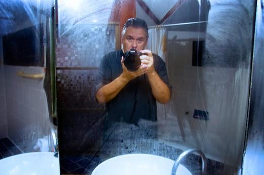 Ray Laskowitz in the Mirror : Stock Photo