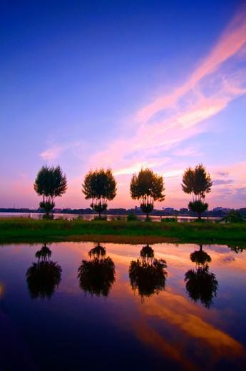 Thailand, Khon Kaen, Nakohn Bung Lake at dusk : Stock Photo