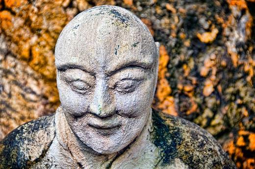 Thailand, Stone Buddha sculpture, close-up : Stock Photo