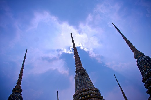 Stock Photo: 1311-2402A Thailand, Bangkok, Wat Pho, Stupas, low angle view