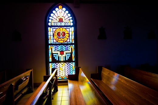 Stock Photo: 1311-2444 Usa, New Mexico, church indoor with stained glass window