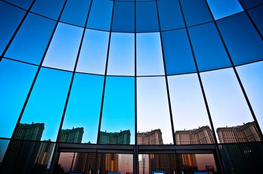 Low angle view of a hotel, Aria Resort And Casino, Las Vegas Boulevard, The Strip, Las Vegas, Nevada, USA : Stock Photo