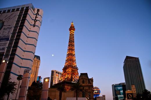 Low angle view of a tower, Paris Las Vegas, Replica Eiffel Tower, Las Vegas, Nevada, USA : Stock Photo