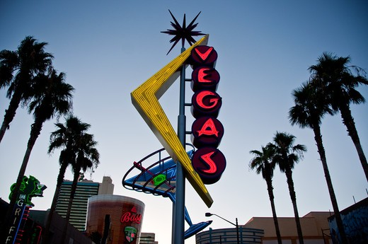 Low angle view of a street name sign, Las Vegas, Nevada, USA : Stock Photo