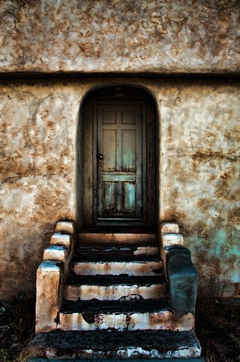 Closed door of a church, New Mexico, USA : Stock Photo