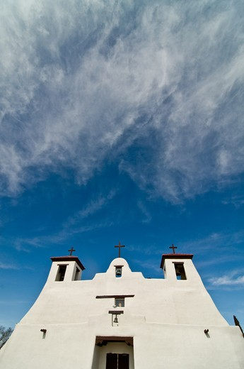 Stock Photo: 1311-2560 Low angle view of a church, New Mexico, USA