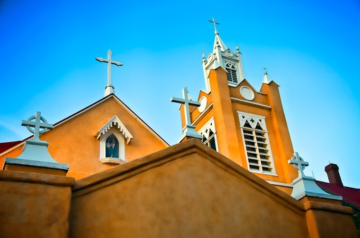 Stock Photo: 1311-2575 Low angle view of a church, New Mexico, USA