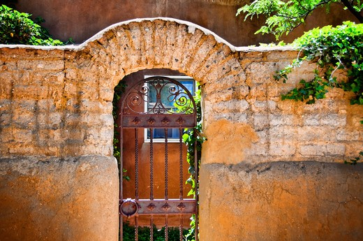 Facade of an old house, New Mexico, USA : Stock Photo
