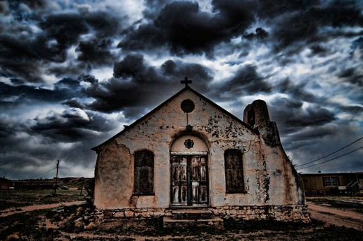 Facade of an old church, New Mexico, USA : Stock Photo