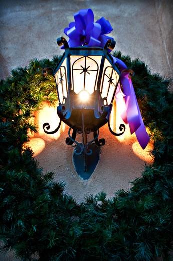 USA, New Mexico, Albuquerque, Christmas lantern with decoration : Stock Photo