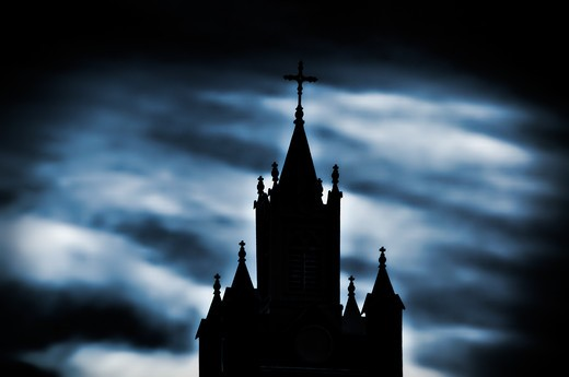 USA, New Mexico, Albuquerque, silhouette of church tower at night : Stock Photo