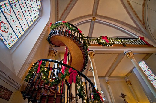 Stock Photo: 1311-2642 USA, New Mexico, Santa Fe, Loretto Chaples, Low angle view on stairs in church, The Loretto Chaples was the first stone masonery building built in Santa Fe between 1873 and 1878 for the Sisters of Loretto, which is now the Inn at Loretto