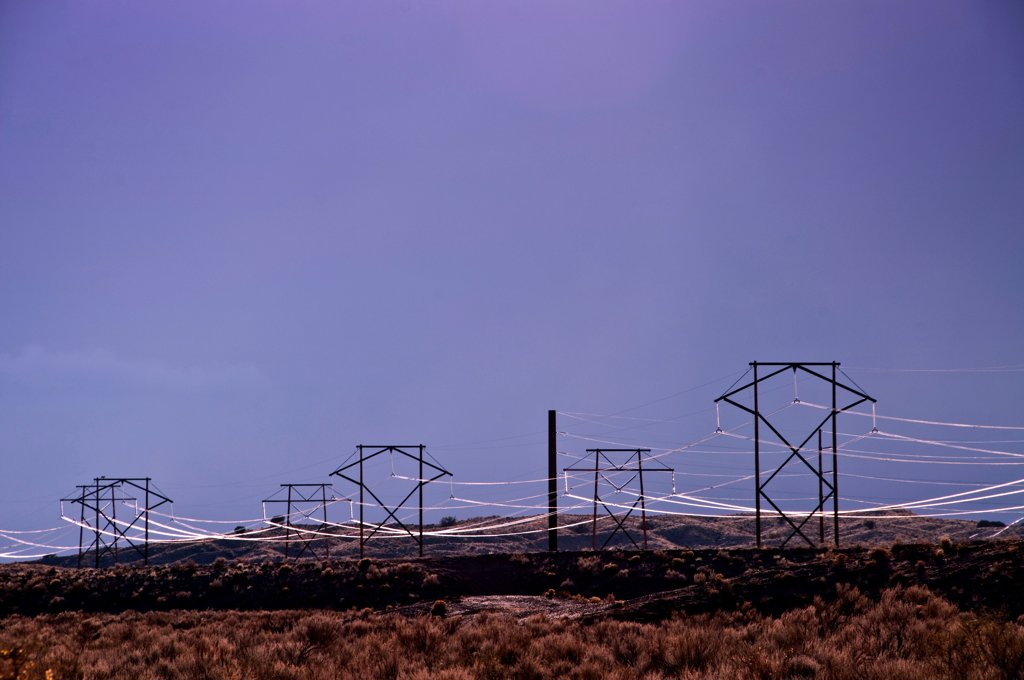 Stock Photo: 1311-2670 Power lines at dusk, New Mexico, USA