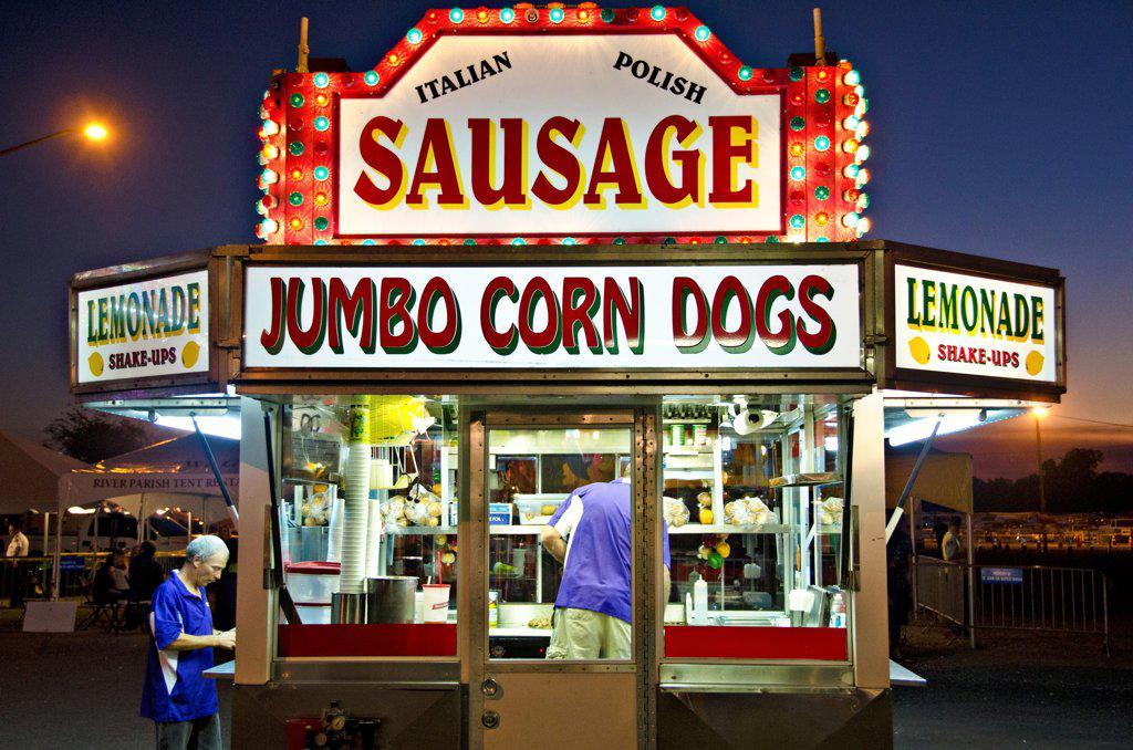 Fair Food at the Andouille Festival, Laplace, St. John the Baptist Parish, Louisiana, USA : Stock Photo