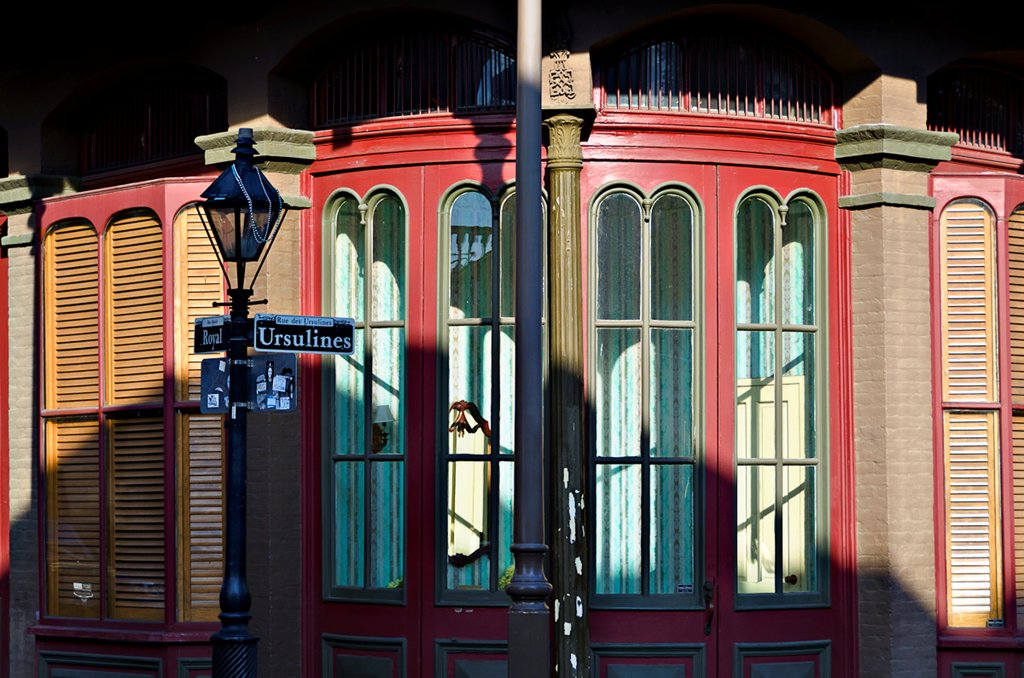 Stock Photo: 1311-2674 Lamppost in front of a building, French Quarter, New Orleans, Louisiana, USA