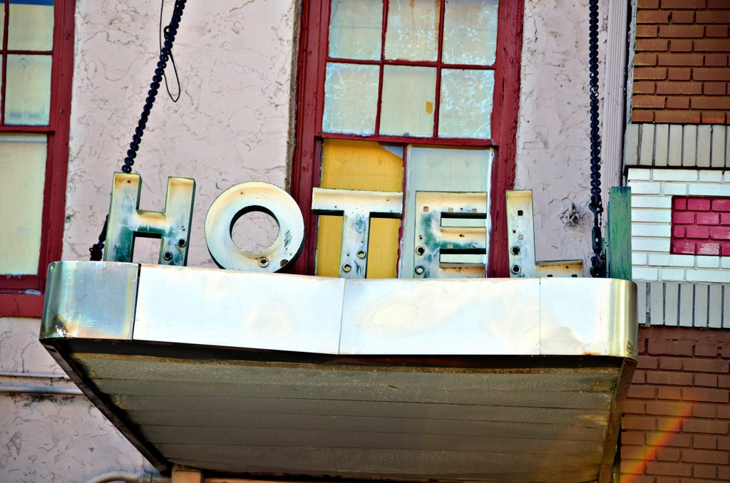 Close-up of a hotel sign, New Orleans, Louisiana, USA : Stock Photo