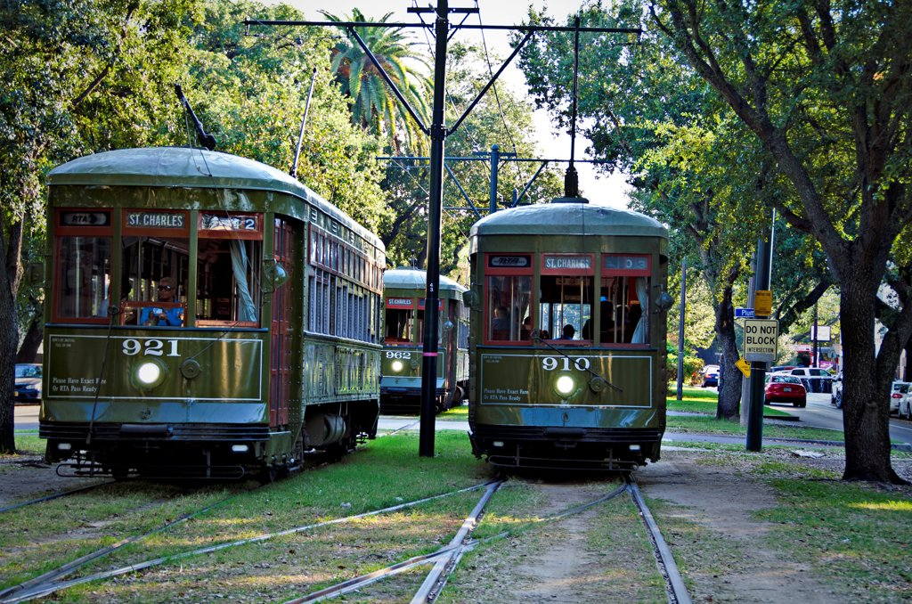 Stock Photo: 1311-2685 Trams in a city, New Orleans, Louisiana, USA