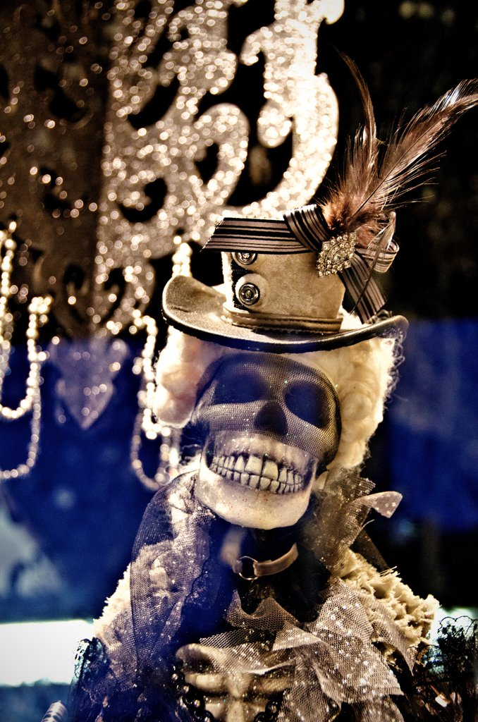 Close-up of a skeleton during Halloween, New Orleans, Louisiana, USA : Stock Photo