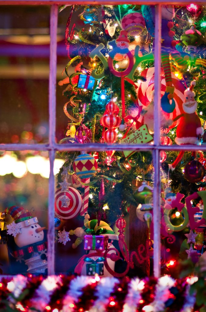 Christmas decoration at night, French Quarter, New Orleans, Louisiana, USA : Stock Photo