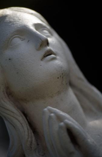 Mission San Francisco de Asis,  sculpture of female saint,  close-up,  San Francisco,  California,  USA : Stock Photo