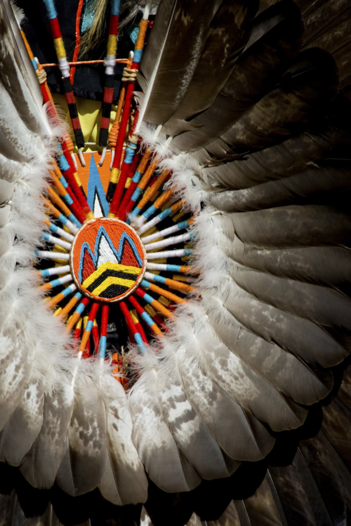 Stock Photo: 1311R-1750 Close-up of a Native American tribal headdress