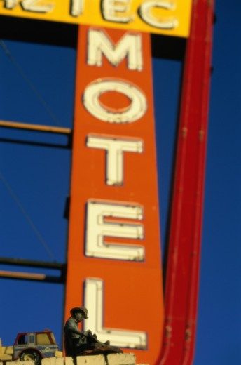 Low angle view of the Aztec Motel sign, Albuquerque, New Mexico, USA : Stock Photo
