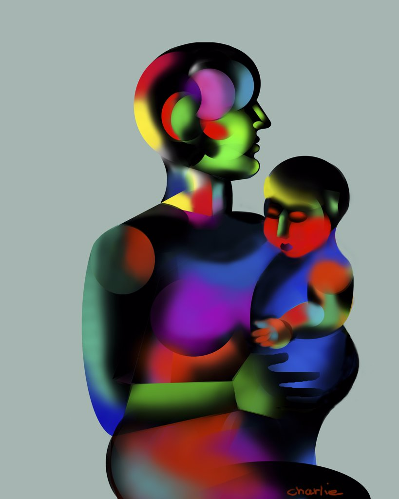 Stock Photo: 1312-208 Mother and Child 2001 Charlie Chann (b.1962/American) Computer graphics