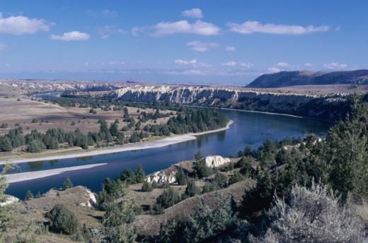 Stock Photo: 1314R-134 High angle view of Flathead River, Montana, USA