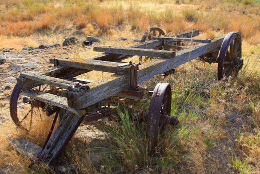 Close up of old wagon in field : Stock Photo
