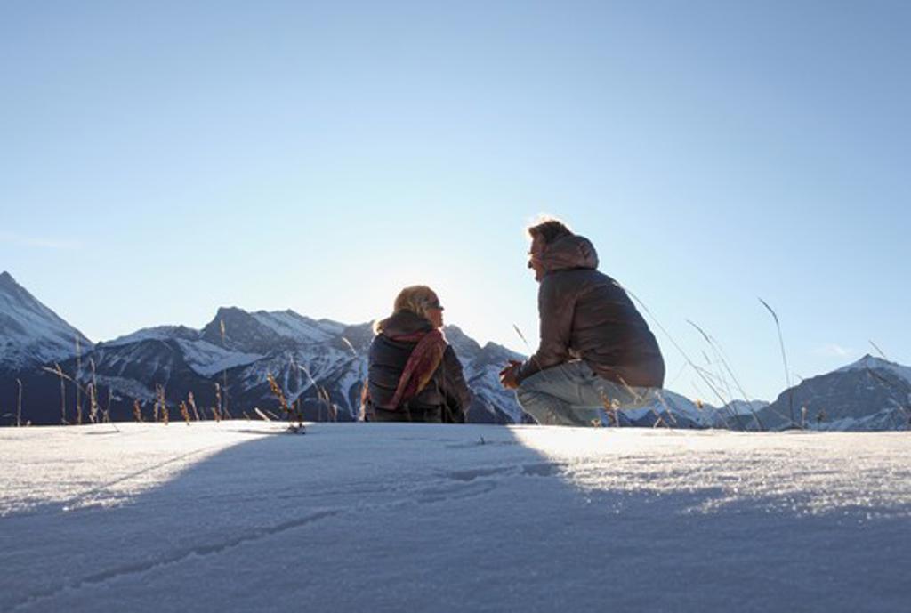 Stock Photo: 1315-1186 Mature couple enjoying in snow, Alberta, Canada
