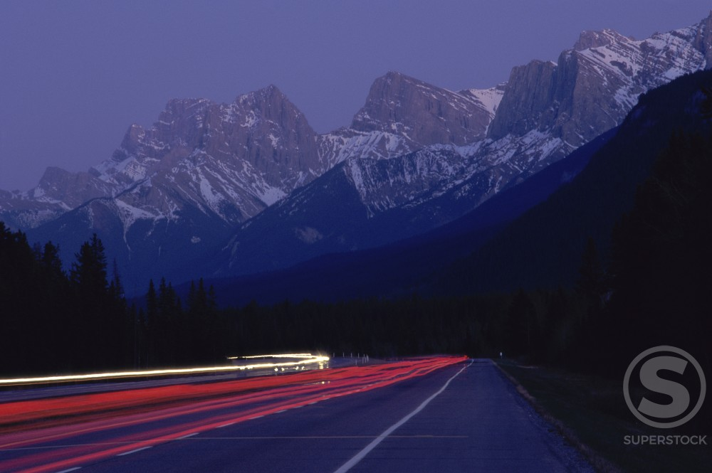 Traffic on the road, Canmore, Alberta, Canada : Stock Photo
