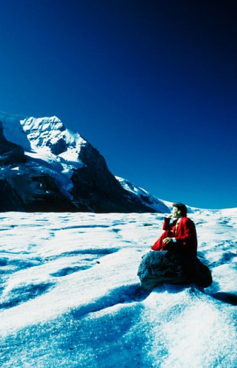 Side profile of a businessman thinking, Columbia Icefield, Jasper National Park, Alberta, Canada : Stock Photo