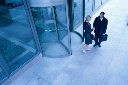 Stock Photo: 1315-435 High angle view of business executives shaking hands