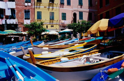Boats in front of buildings, Vernazza, Italy : Stock Photo