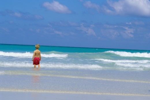 Stock Photo: 1315-703 Rear view of a boy standing in water on the beach