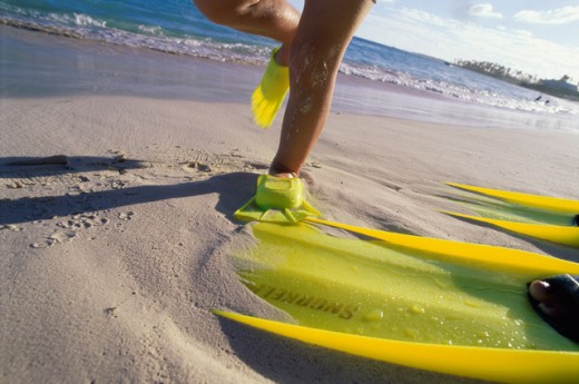 Close-up of person wearing flippers on the beach, Caribbean : Stock Photo