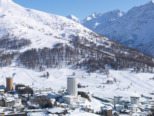 Stock Photo: 1315R-10267 Italy, Piedmont, Sestriere village and ski resort (site of 2006 winter Olympics)