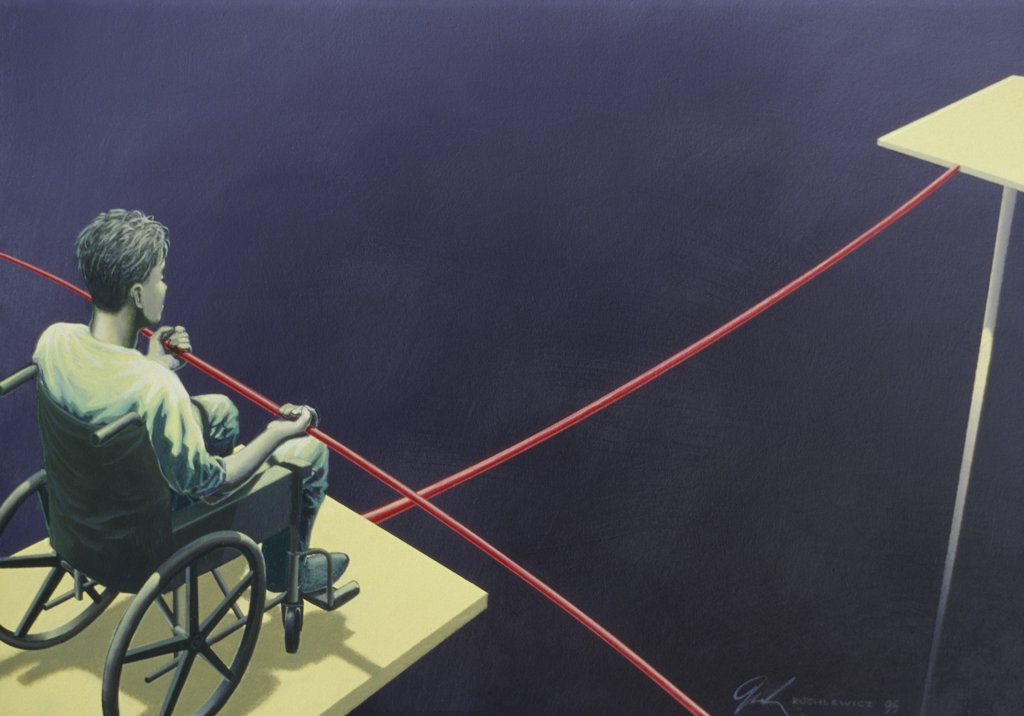 High angle view of a man in a wheelchair on a tightrope : Stock Photo