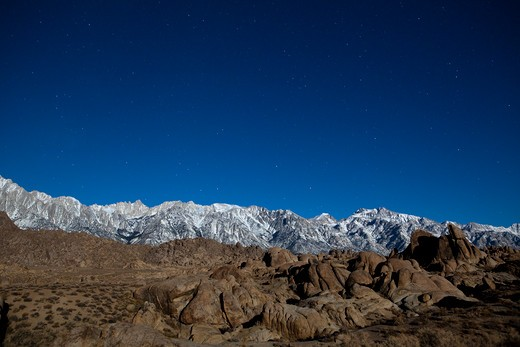 Stock Photo: 1317-1015 Low angle view of mountains in moonlight at night, Alabama Hills, Lone Pine Peak, Mt Whitney, Californian Sierra Nevada, California, USA