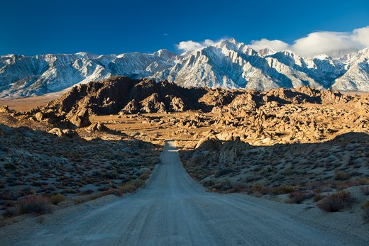 Dirt road with mountains in the background, Alabama Hills, Lone Pine Peak, Californian Sierra Nevada, California, USA : Stock Photo