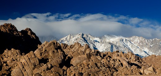 Stock Photo: 1317-1022 Mountains at sunrise, Alabama Hills, Lone Pine Peak, Mt Whitney, Californian Sierra Nevada, California, USA