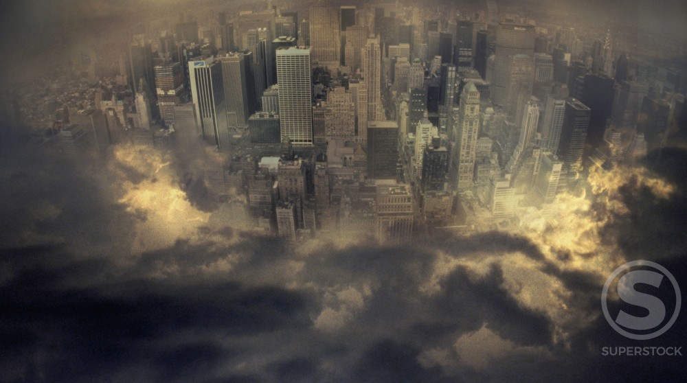 Stock Photo: 1317-103 Skyline surrounded by clouds, New York City, USA